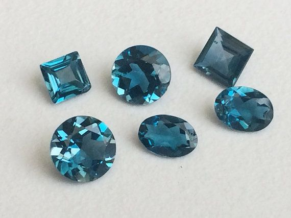 6 Pcs London Blue Topaz Mix Shape Cut Stones by gemsforjewels