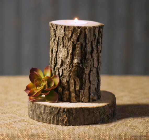 Rustic Log Candle Holder Rustic Decor Reclaimed by GFTWoodcraft