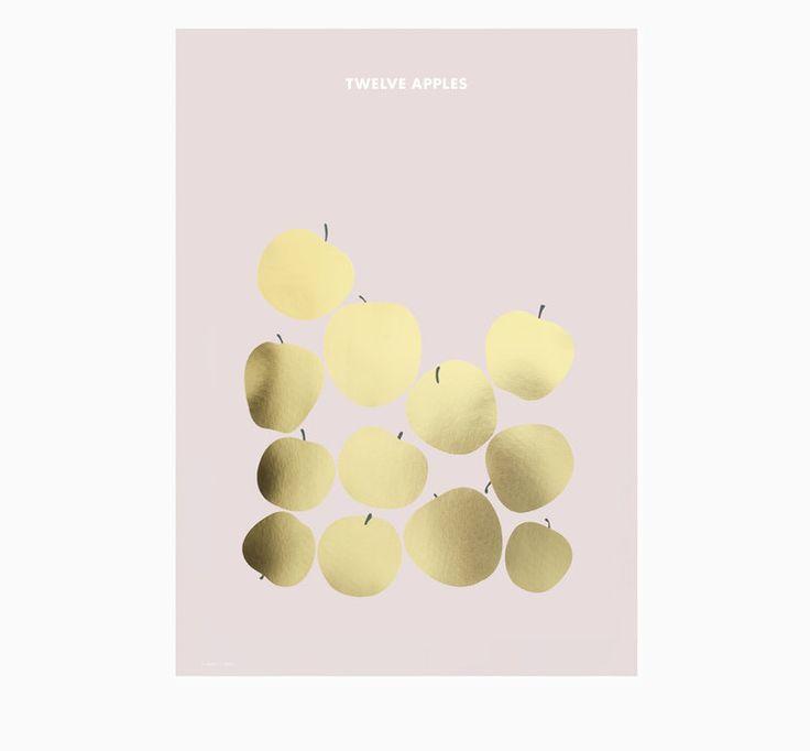 Friday & Today ~ 'Twelve Apples' gold foiled art print 50 x 70cm
