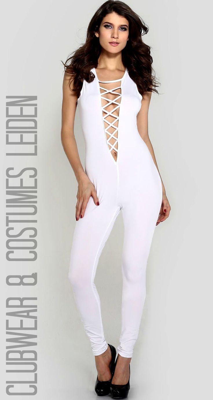 "SEXY WITTE JUMPSUIT MET UITDAGENDE DIEPE HALSLIJN, CATSUIT, M of L, €24,95 >>  Sexy white jumpsuit catsuit with ""plunging neckline"