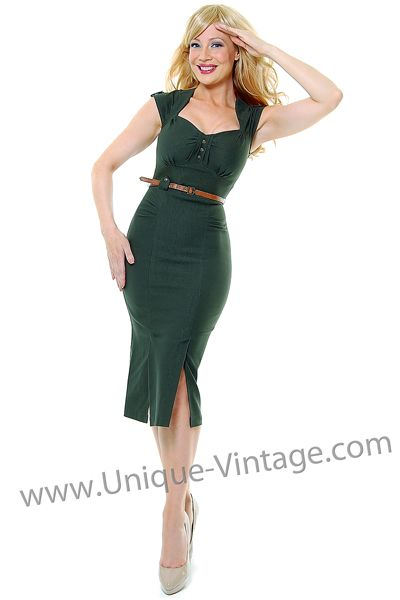 xxoo: Retro Dress, Wiggle Dress, Sleeve Majorette, Army Green, Dress Unique Vintage, Vintage Prom Dresses, Green Cap, Cap Sleeves