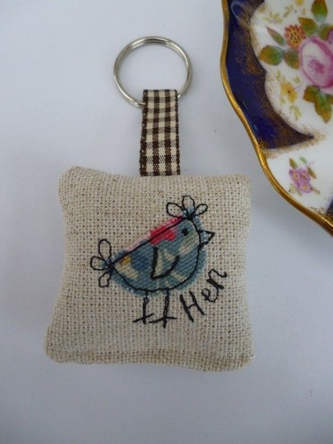 Handmade Hen Applique Keyring with a lavender scent, Cath Kidston Blue Bunch £5.50