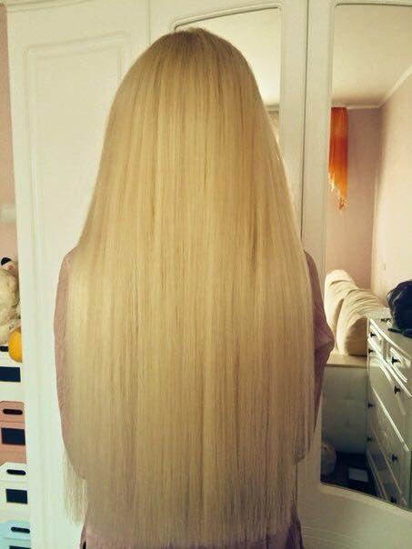 Наращивание волос в Берлине. Наращивание 130 прядей, длина 65 см, золотистый блонд.