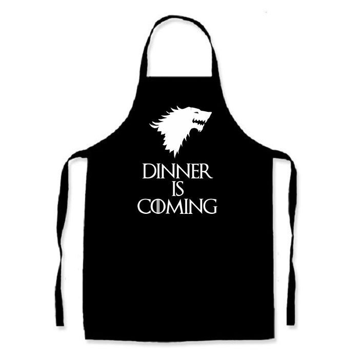Dinner is Coming - Game of Thrones inspired apron Winter is Coming kitchen cooking novelty item by TwinkleJellyDesigns on Etsy https://www.etsy.com/listing/229611497/dinner-is-coming-game-of-thrones