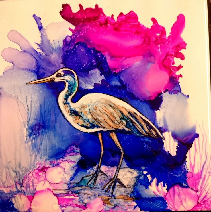 "Stork Alcohol Ink on 8"" tile"