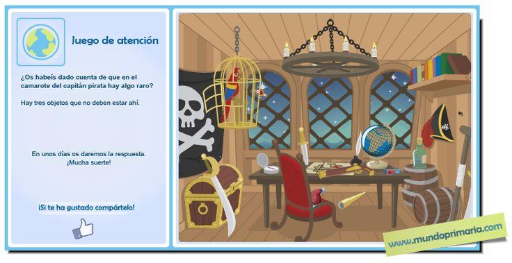 En el camarote del Capitán pirata hay tres objetos que están fuera de lugar. ¿Eres capaz de encontrarlos? #infography #children #education #resources #flowcharts #school #spanish