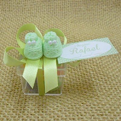 Lembrancinha Maternidade e Chá de Bebê Caixa com Pantufas Biscuit e Balas $3.90