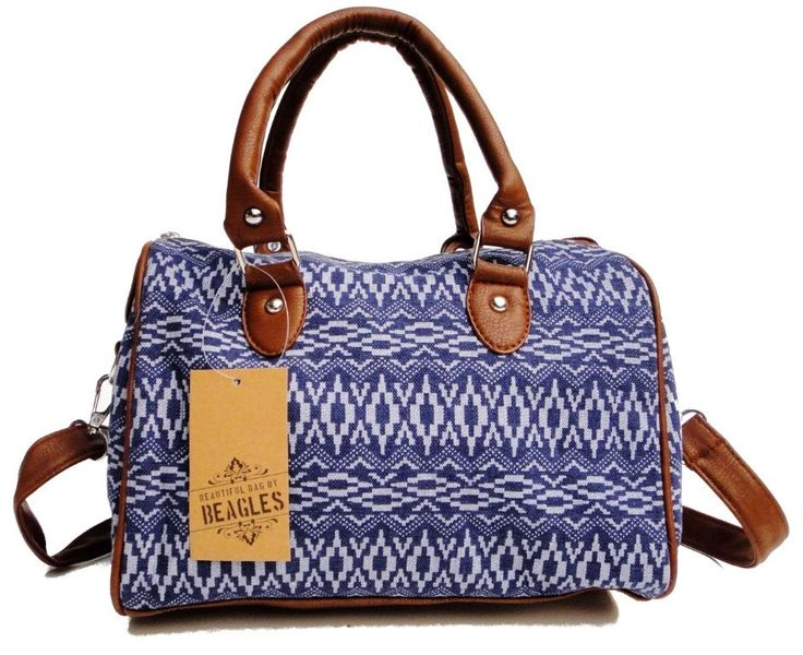 Beagles Vintage Canvas Jeans Aztec Patterned Top Handle Cross-body Shoulder Bag Purse Hand Bag Retro by BagintheDays on Etsy