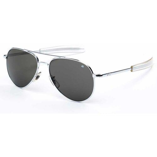 AO Eyewear General Silver Frame Bayonet Temple True Color Gray Glass Lens Sunglasses