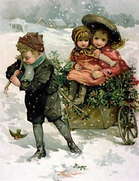 Lizzie Lawson.  Three children in the snow.  The little boy pulls the cart overflowing with Christmas greenery on top of which sit his sisters.