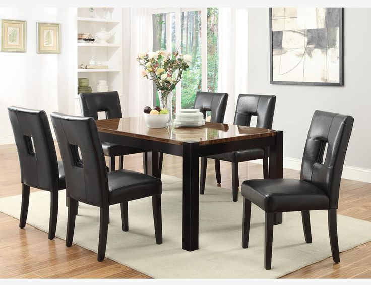 7 PC Modern Walnut Wood Dining Room Set Table Chairs Leather Seat