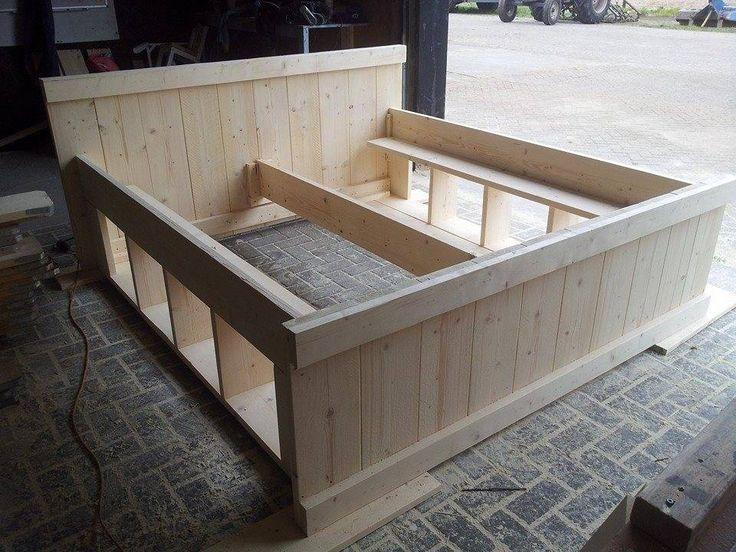 Woonideeen Slaapkamer Zelf Maken : Bed Steigerhout Bouwtekening