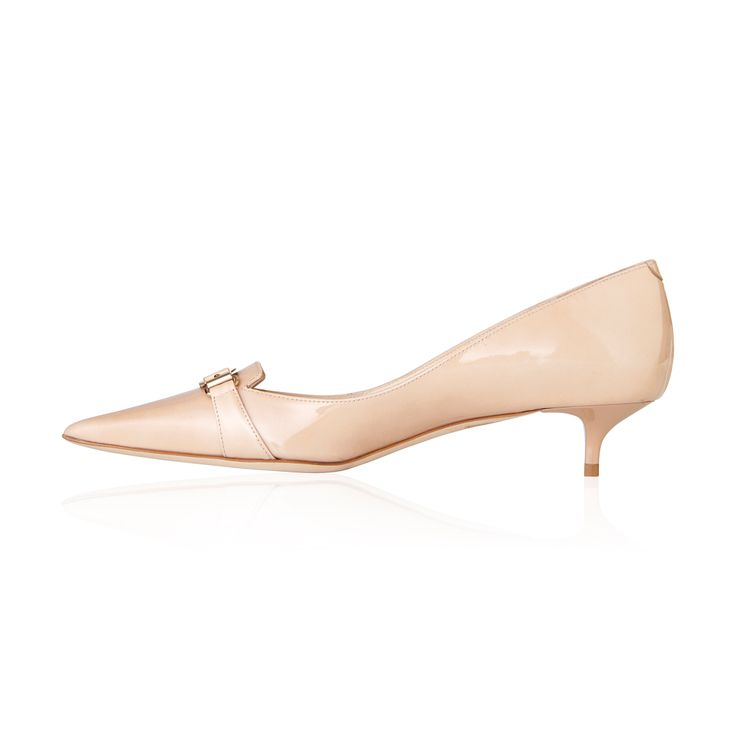 Jimmy Choo Valet Patent Leather Pump Nude - Classy & sophisticated pump with kitten heel, this is a timeless shoe that will never go out of style.