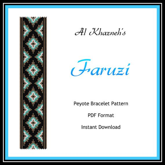 """A TURQUOISE GIVEN BY A LOVING HAND CARRIES WITH IT HAPPINESS AND GOOD FORTUNE. Arabic proverb""  PLEASE NOTE: In purchasing this item, you are buying only a PATTERN in PDF format. This pattern is also intended for users that have experience with peyote, because the pattern does NOT include instructions on how to do this stitch.  After Etsy receives confirmation of payment for your order, you will be able to download the PDF file from your receipt in your Purchases and Reviews section on Etsy...."