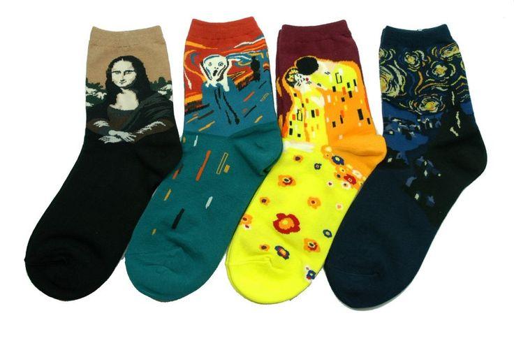 World Famous Painting Art Socks 4 Pair Color Funny Novelty Mona Lisa The Scream #GGORANGNAE #Casual