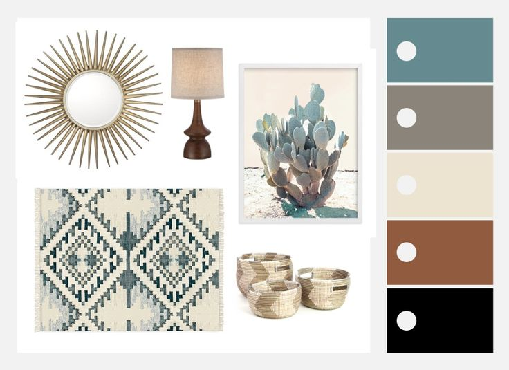 Explore a beautiful, comfortable combination of styles with this Southwestern Mid-Century Mashup mood board plus inspiration and decorating tips.