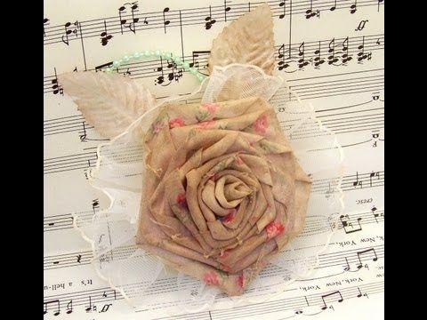 Flower Friday- Ribbon Rose from Fabric Flower Tutorial - YouTube
