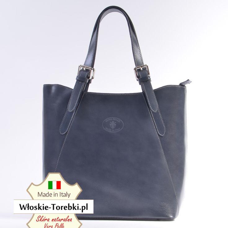 Torba Donatella w ciemnym odcieniu koloru szarego ze skóry naturalnej