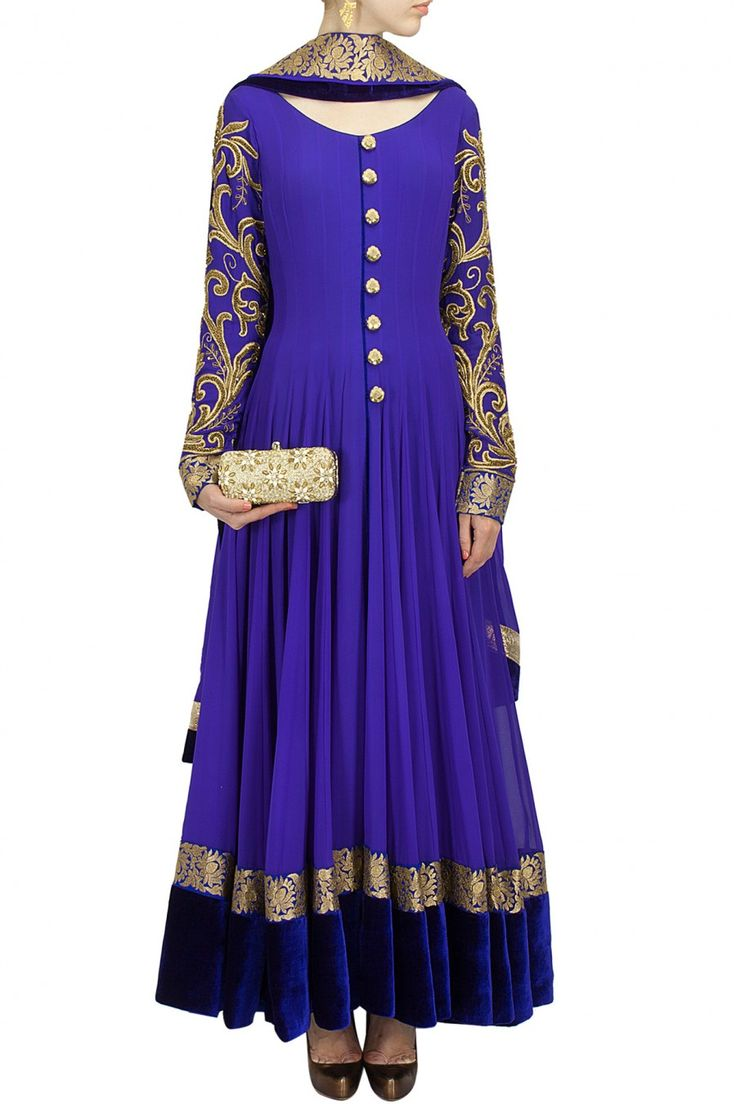 Royal blue embroidered anarkali set BY AKSHAY WADHWA