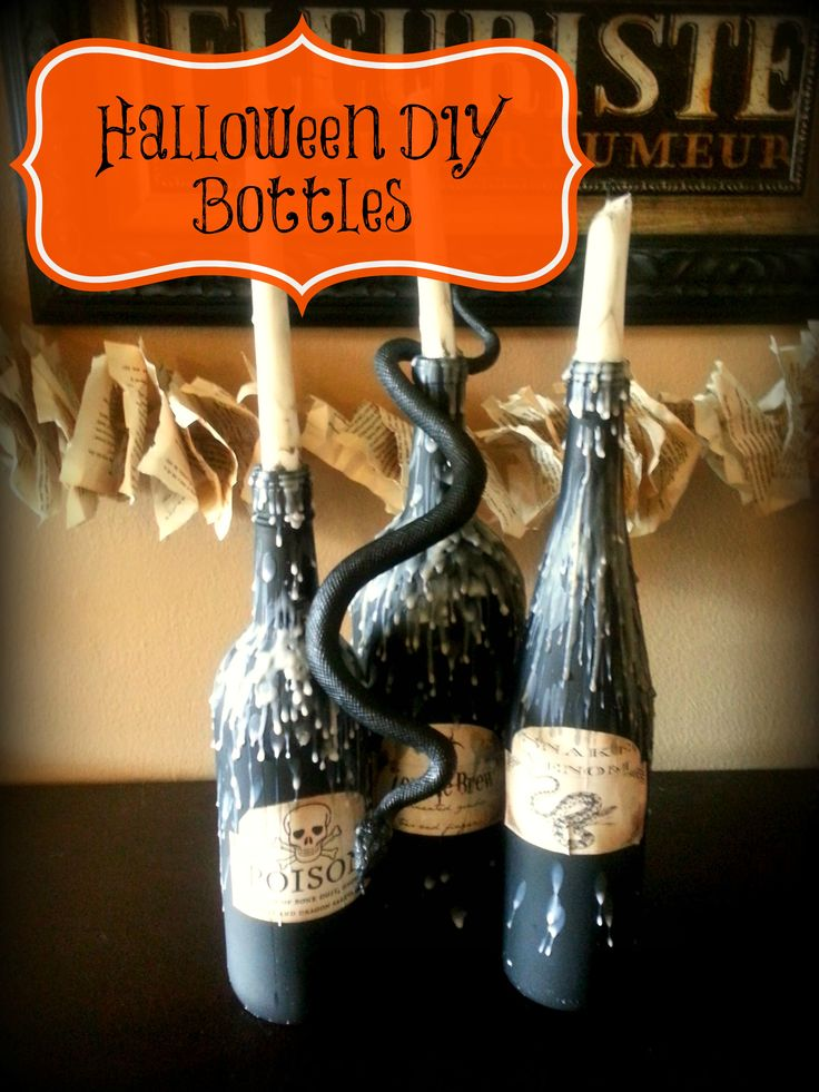 Halloween candles diy décor old wine bottles #Halloween #diy #vintage