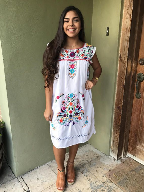 Mexican Dress, Puebla Mini Dress, Sleeveless Mexican Dress