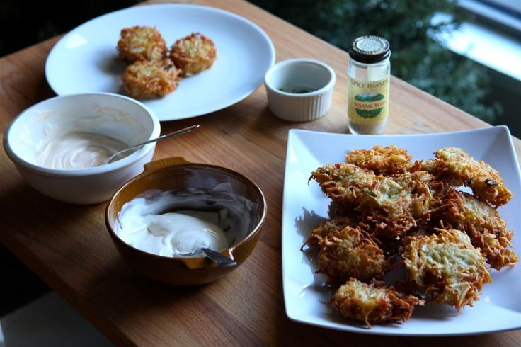 Learn how to make this easy Asian latkes recipe. These scallion latkes with sesame cream are a fun take on the classic Jewish potato pancakes served traditionally at Hanukkah.