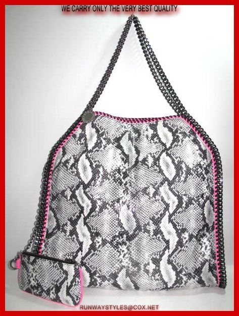 "Stella McCartney Falabela Chain Grey Python Bag.  Python leather   ""Stella McCartney"" charm hangs from top handles; 9"" drop.   Dipped top with magnetic-snap closure.   Slouchy, yet structured body.   Fabric lining; inside zip and open pockets.   Measures 16"" long, 16"" high, 4"" deep. 8"" drop   Coin purse included."