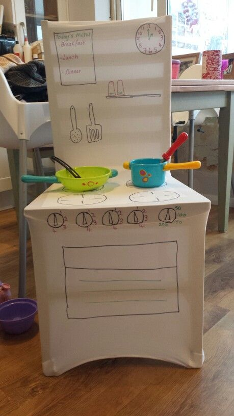 Take 1 stretchy chair cover (mine was £2 from Amazon) and a few sharpie pens and make yourself a play kitchen.