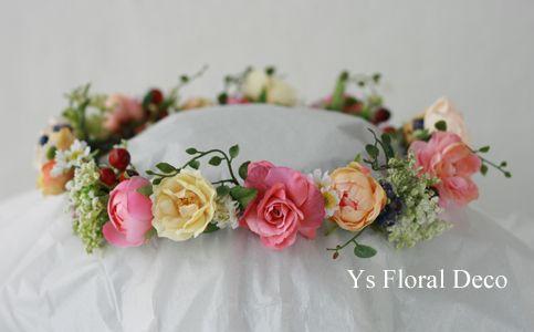 hk00300 ピンクドレスにあわせるミックスカラーの花冠 ys floral deco @八芳園