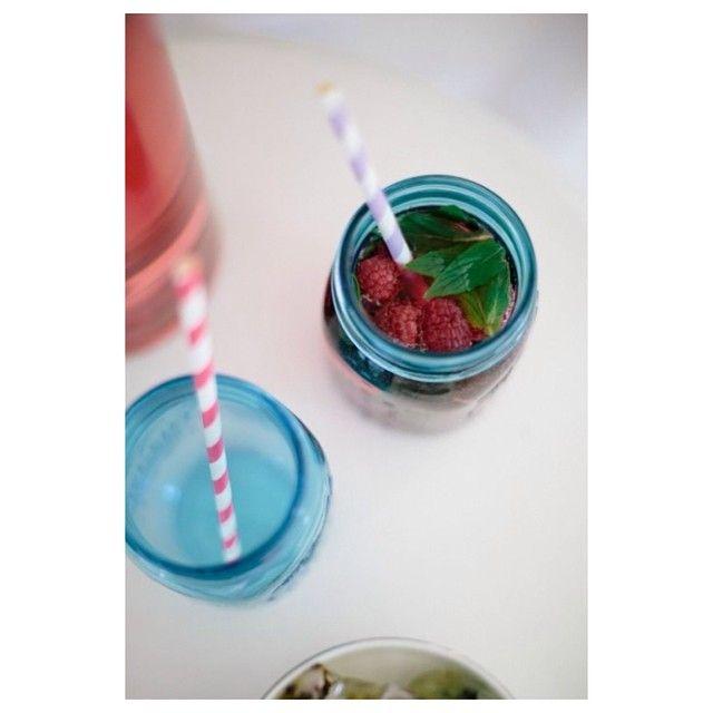 Sally Bay, drinks, raspberry, mint, stripes, straws, mason jars