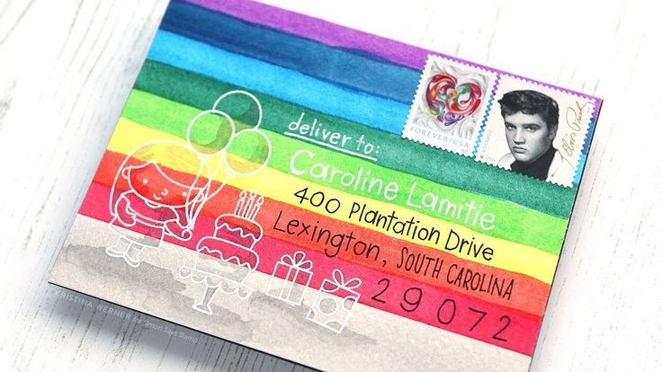 RAINBOW MAIL ART - Watercolor envelope, Monthly Mail Art, Simon Says Stamp - YouTube