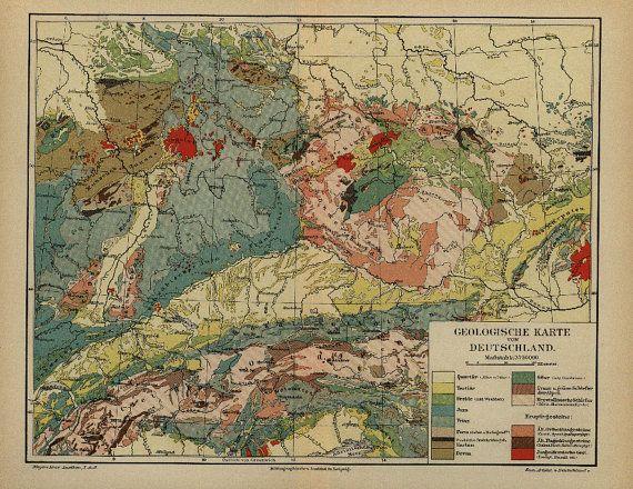 Antique Original Germany Geologische Karte Von  by RarePostCards