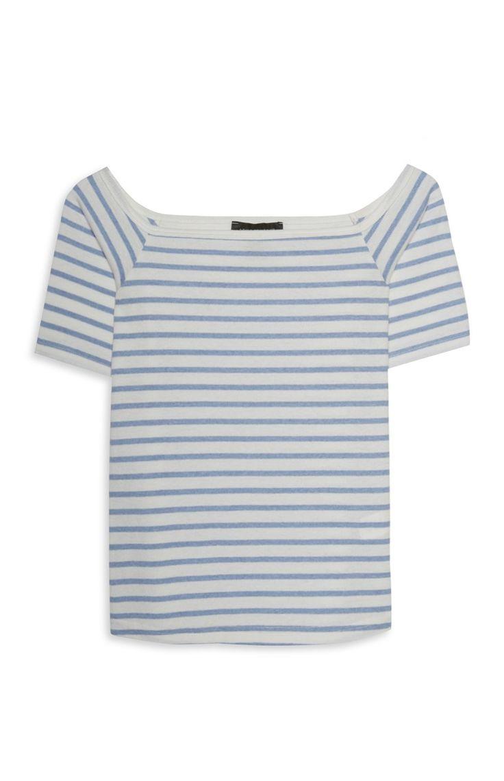 Witte Bardot-top met blauwe strepen