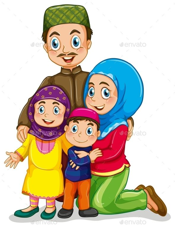 Muslim Family (JPG Image, Vector EPS, CS, boy, cartoon, children, costume, culture, dad, family, father, girl, islam, islamic, isolated, kids, love, man, mom, mother, muslim, on white, outfit, picture, relationship, relatives, religion, religious, tradition, traditional, white, white background, woman)