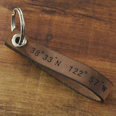 Leather Anniversary Gift Ideas for Him - Traditional / Modern Gifts - FindGift.com but the coordinates of where he asked me out ans I said yes!