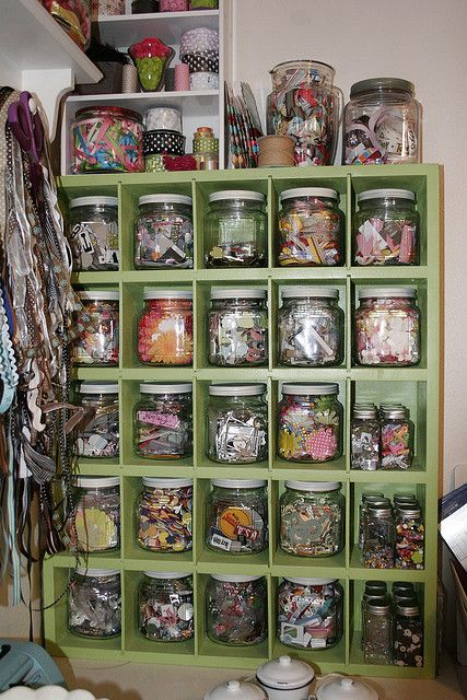 TidySewing Room, Mason, Scrapbook Rooms, Crafts Room Storage, Jars Storage, Crafts Storage, Crafts Organic, Storage Ideas, Crafts Supplies