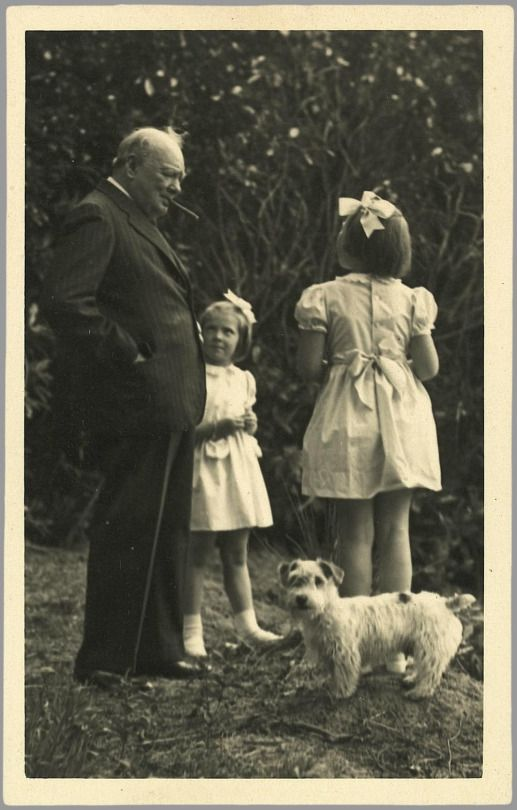 Winston Churchill with Princesses Beatrix and Irene of the Netherlands in 1946.
