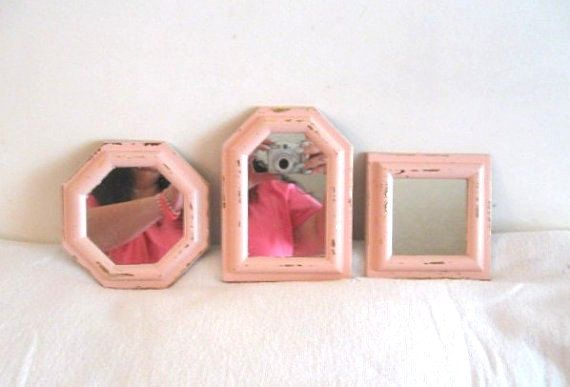 Set 3 Pink Wall Mirrors Shabby Vintage Homco Burwood USA Pale Different Shapes 1970's Chic Cottage Romantic