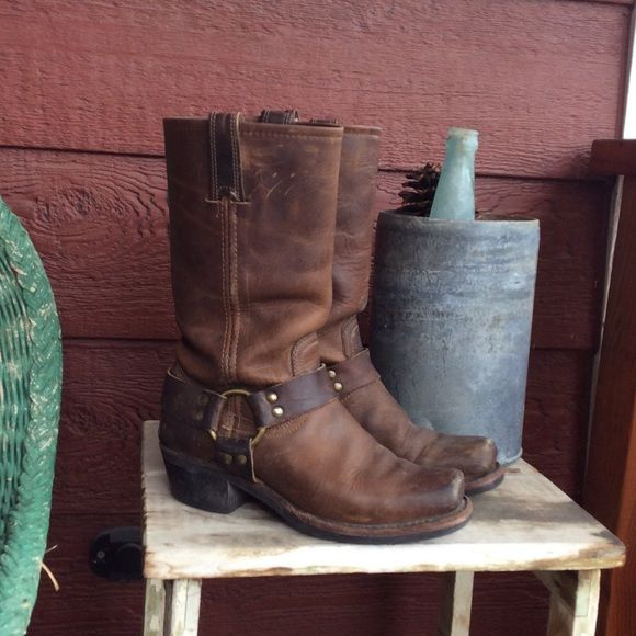 Frye harness boots These fur harness in dark brown cowboy boots are still in great shape. Frye makes their boots to last and these are no exception. My favorite go to boot of all time! These are genuine leather. Frye Shoes Heeled Boots