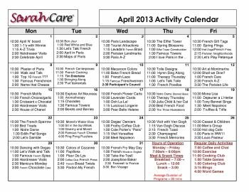 April Monthly Calendar of activities at SarahCare Lake Boone Trail adult daycare