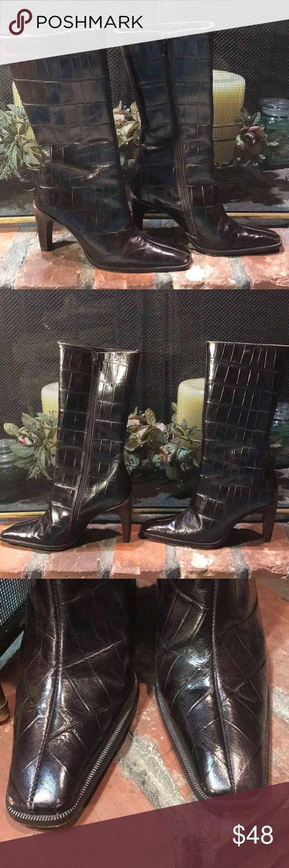 Charles David Brown Leather Croc Boots Charles David Brown Leather Croc Boots!  Great quality shoes.  Does shoe wear with scuffs and scratches. Charles David Shoes Heeled Boots