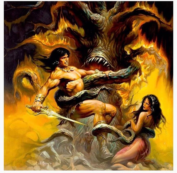"""Conan the Barbarian"" artwork by Ken Kelly. (1990)."