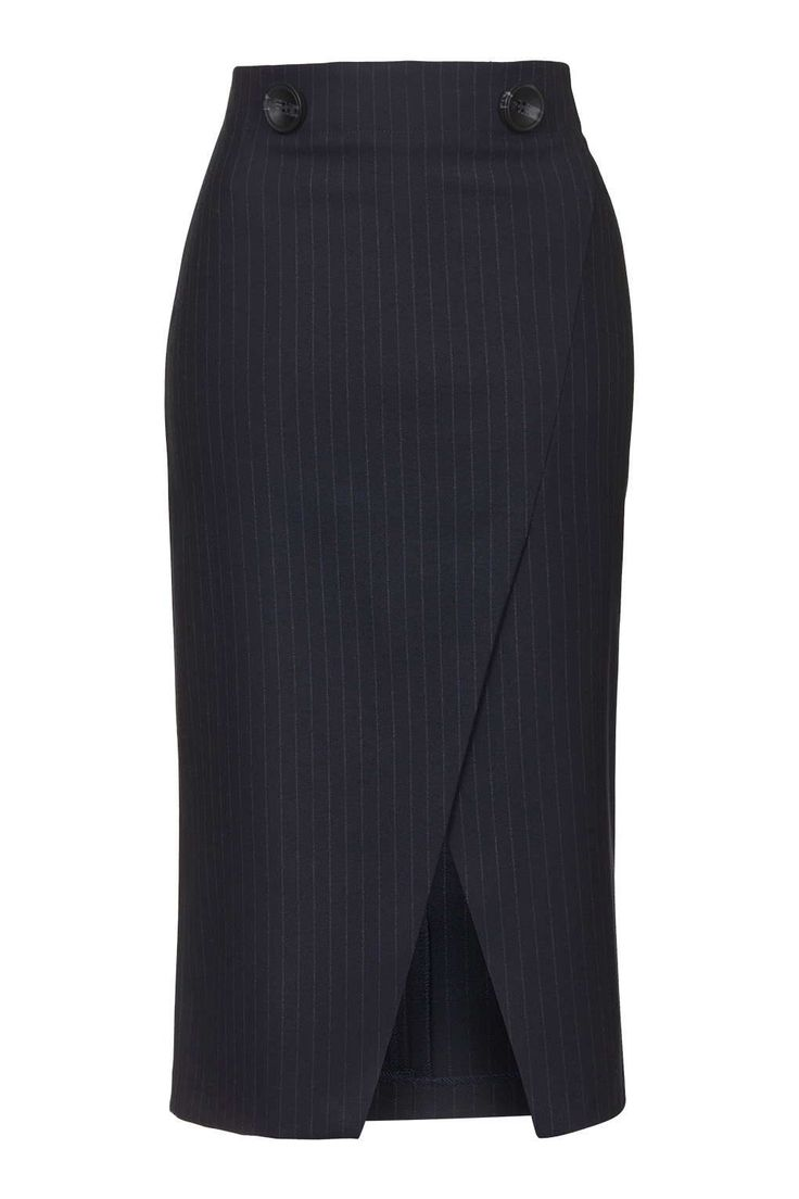 Photo 1 of Pinstripe Wrap Midi Skirt