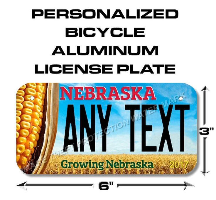 "Nebraska ANY TEXT Bicycle Toy Bike Power Wheels Scooter License Plate Tag 3""x6"""