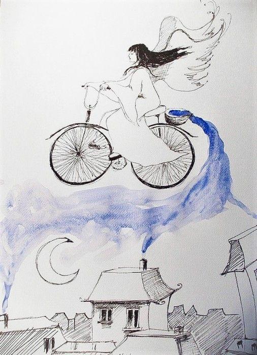 """""""ROZSIEWAJĄC NOC"""" praca piórkiem z dodatkiem akwareli  wykonana przez artystkę plastyka Adrianę Laube na papierze A3."""