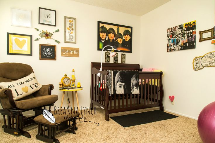 Beatles themed nursery.   Beatles; baby girl; newborn; nursery; gender neutral; crib; rocker; bedding; decor