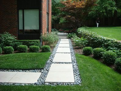 Really Like This Pathway Of Concrete Pavers Bordered With River Rock Front Yard Back Pinterest Backyard And Garden