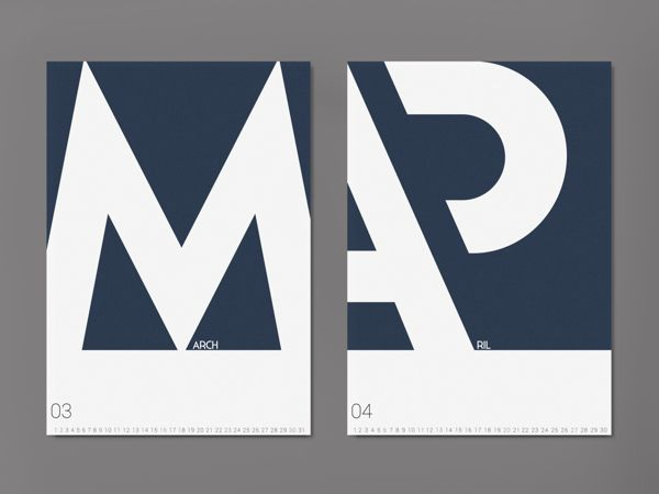 Typographic calendar by Michal Tokarski, via Behance