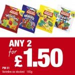 Bassetts Maynards Wine Gums Berties Party Mix Jelly Babies Sports Mix (165g) price marked 1.00 any 2 for 1.50 @ Premier Stores