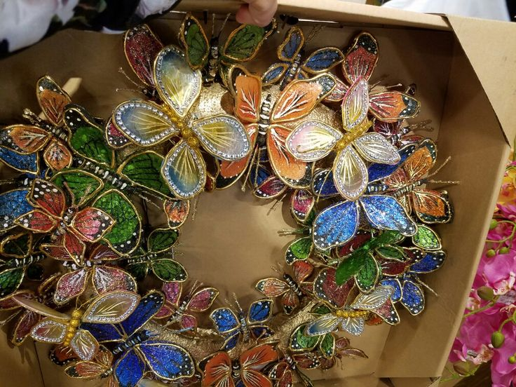 Butterfly Wreath Available Pier Butterflies Christmas Wreaths Ornament
